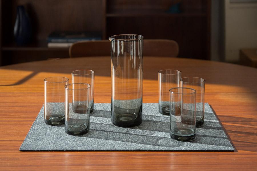 Glasses and glass carafe Kaj Frank -Nuutajarvi 1609