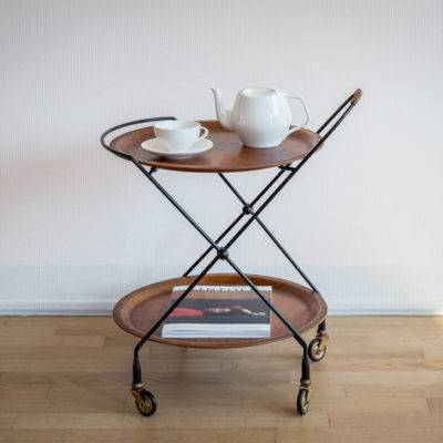 Trolley with wooden trays